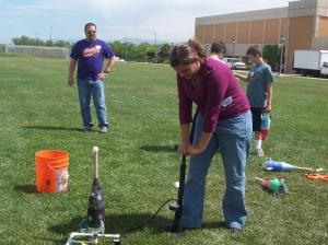 Making rockets out of 2 litre bottles and water pressure! This was my favorite...